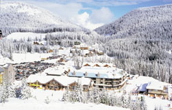 A village view of Apex Resort and the local mountain shops and businesses.