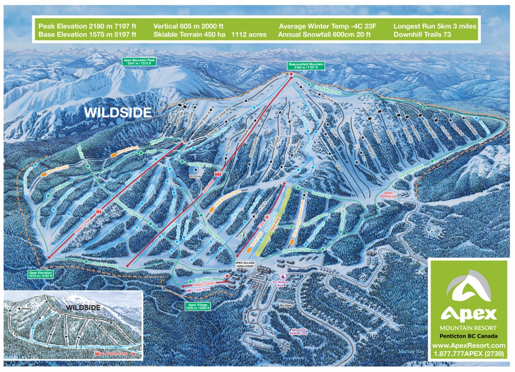 Map and info about Apex Mountain Resort, located near Penticton in the South Okanagan Valley, BC.