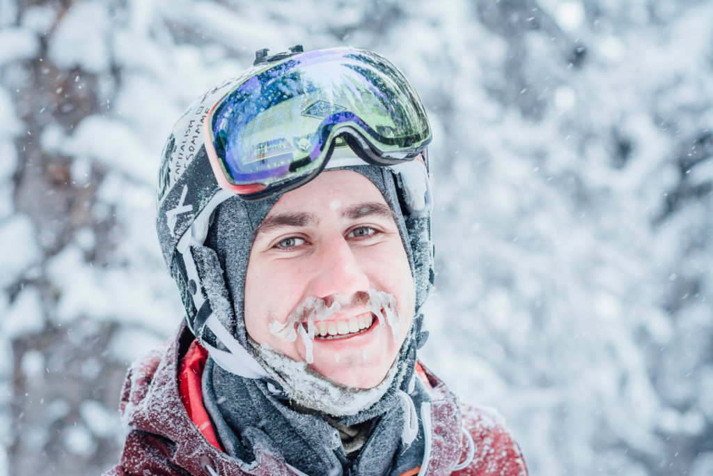 Face shots and smiles while skiing fresh powder at Apex Mountain Resort.
