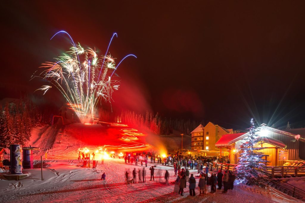 Christmas Eve holiday torchlight parade and fireworks at Apex Mountain Resort + Santa visit and gifts.